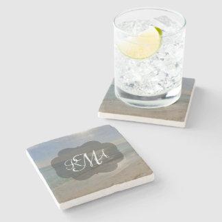 Beach 3-Letter Monogram Initials Ocean Stone Coaster