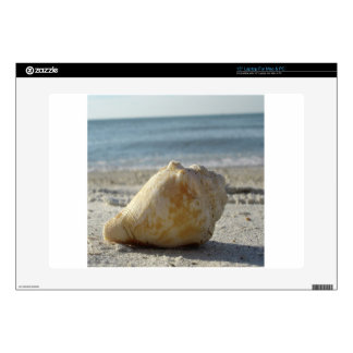 """Beach A Clear Water Shell Decal For 15"""" Laptop"""