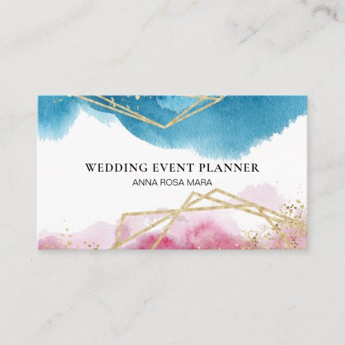 Beach Abstract Pink Blue Gold Glitter Polygons Business Card