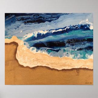 Beach Acrylic Pour Art Poster