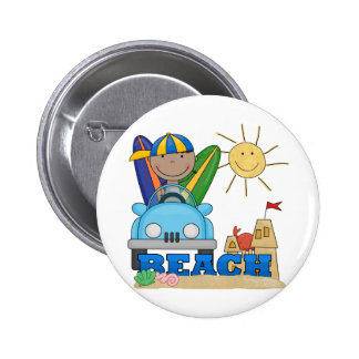 BEACH African American Boy Tshirts and Gifts Button