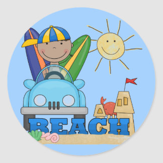 BEACH African American Boy Tshirts and Gifts Classic Round Sticker