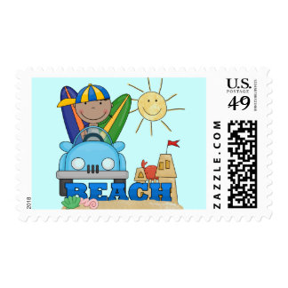 BEACH African American Boy Tshirts and Gifts Postage Stamp