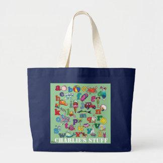 Beach alphabet- baby tote canvas bag