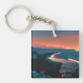 Beach, altered colors Double-Sided square acrylic keychain