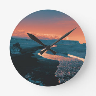 Beach, altered colors round clock