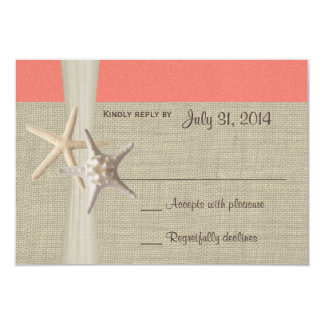 Beach Amore Coral Shell Response Card Announcements