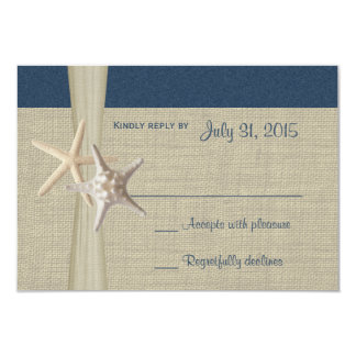 Beach Amore Navy Blue Response Card Personalized Invite