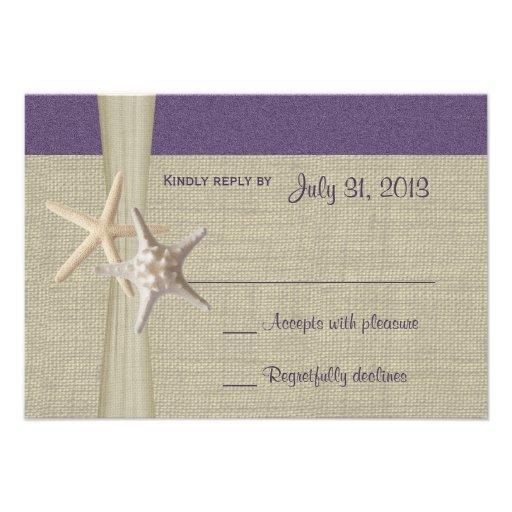 Beach Amore Purple Response Card Personalized Invitation