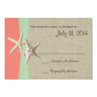 Beach Amore Shell Coral and Mint Response Card Custom Invite