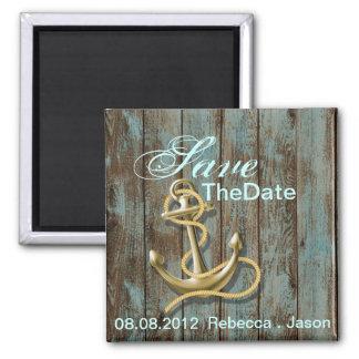 beach anchor nautical wedding save the date magnet