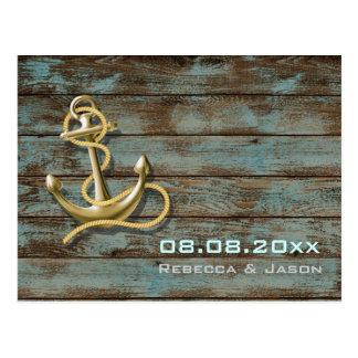 beach anchor nautical wedding save the date postcard