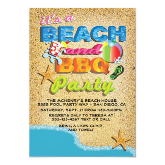 Beach and BBQ Party Invitations