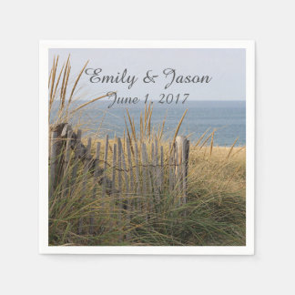 Beach and beach fence paper napkin