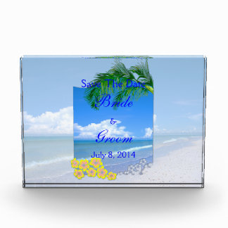 Beach And Blue Skies Wedding Save The Date Acrylic Award