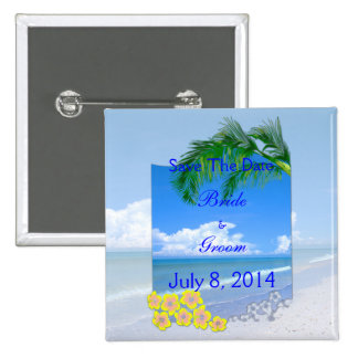 Beach And Blue Skies Wedding Save The Date Buttons