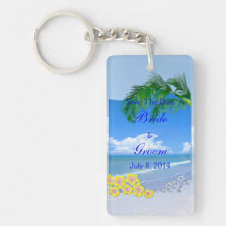 Beach And Blue Skies Wedding Save The Date Keychain