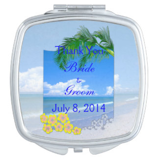 Beach And Blue Skies Wedding Thank You Compact Mirror
