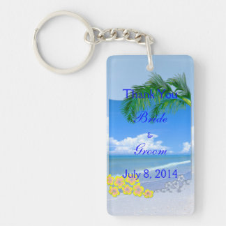 Beach And Blue Skies Wedding Thank You Double-Sided Rectangular Acrylic Keychain