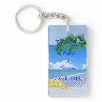 Beach And Blue Skies Wedding Thank You Keychain