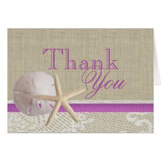 Beach and Burlap Tropical Purple Thank You Card