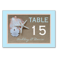 Beach and Burlap Wedding Table Numbers Cards