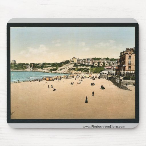Beach and casino, Dinard, France vintage Photochro Mouse Pads