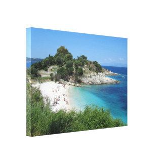 Beach and Clear Blue Sea Canvas Print
