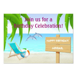 Beach and Dolphins Birthday Invitation for Girls