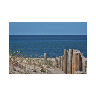 Beach and dune fence at Provincetown, Cape Cod Canvas Print