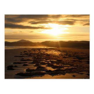 Beach and Hills Sunset Postcard