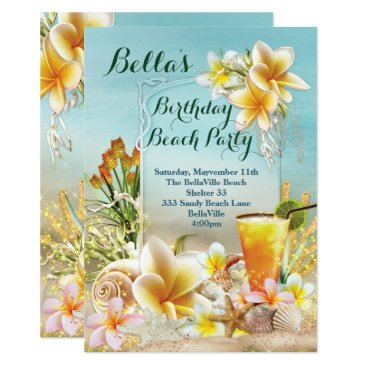 Beach Themed Beach and Luau Party Invitations