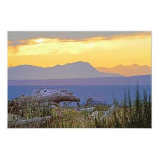 Beach and Mountain Sunrise Photo Art