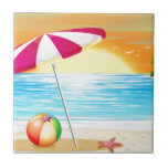 "Beach and ocean ceramic tile<br><div class=""desc"">Illustration of a beautiful scene of a beach at sunset</div>"