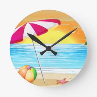 Beach and ocean round clock