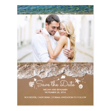 Beach Themed Beach and Ocean Treasures Photo Save The Date Postcard