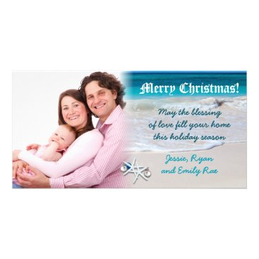 Beach Themed Beach and Ocean Water Custom Christmas Photo Card