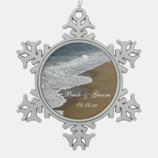 Beach and Ocean Wedding Snowflake Pewter Christmas Ornament