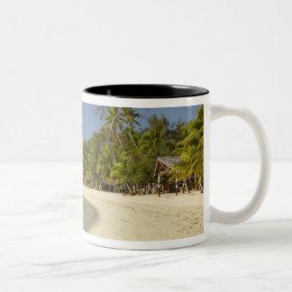 Beach and palm trees, Plantation Island Resort 2 Two-Tone Coffee Mug