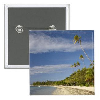 Beach and palm trees, Plantation Island Resort Pinback Button