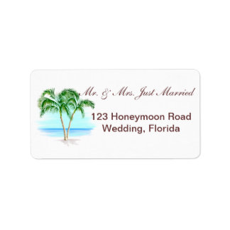 Beach And Palm Trees Wedding Address Label