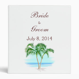 Beach And Palm Trees Wedding Guest Book 3 Ring Binder