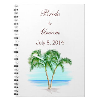 Beach And Palm Trees Wedding Guest Book Note Book