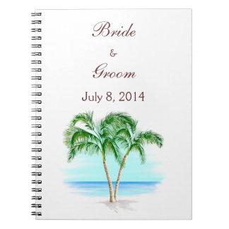 Beach And Palm Trees Wedding Guest Book Spiral Notebook