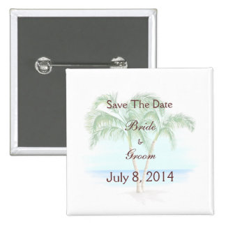 Beach And Palm Trees Wedding Save The Date Button
