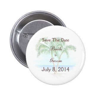 Beach And Palm Trees Wedding Save The Date Pinback Buttons
