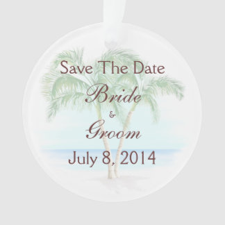 Beach And Palm Trees Wedding Save The Date Ornament