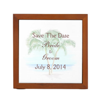 Beach And Palm Trees Wedding Save The Date Pencil Holder