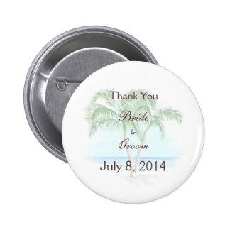 Beach And Palm Trees Wedding Thank You Pins