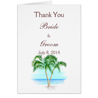 Beach And Palm Trees Wedding Thank You Greeting Card